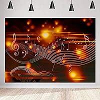 写真撮影のためのHD抽象的な音楽記号の背景茶色のヴィンテージ音楽スタッフの背景音楽パーティーの装飾バナー7x5ftLSMT1269