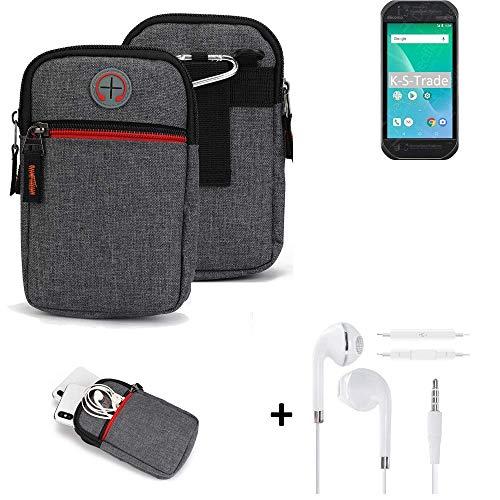 K-S-Trade® Gürtel-Tasche + Kopfhörer Für Panasonic Toughbook P-01K Handy-Tasche Schutz-hülle Grau Zusatzfächer 1x