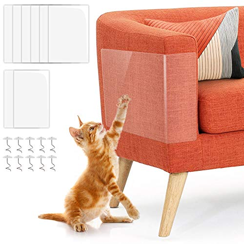 """Furniture Protectors from Cats 8Pack, Cat Couch Protector, 6PACK 17""""X12"""" XL Cat Scratch Deterrent Tape, 2 Pack 17""""x 10"""" Large Anti Scratch Training Tape with Pins for Upholstery Sofa, Door, Walls"""