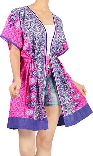 LA LEELA Algodón Kimono Impreso Corta Beach Cover Up para Mujer Suelta Ropa de Playa Encubrimiento de baño Bikini Vestido para la Playa, un tamaño Rosa_I158