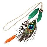 Yazilind Tocado para mujer, color verde y naranja, plumas de pavo real, perlas de pavo real