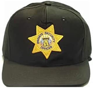BLACK Private Security Guard Officer Patrol Uniform Baseball Cap Hat GOLD Star