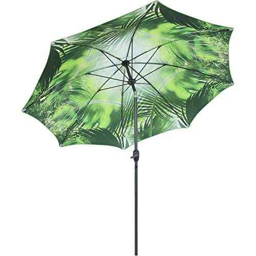 Sunnydaze 8-Foot Outdoor Patio Umbrella - Inside Out Market Style with Push Button Tilt and Crank - Aluminum Pole and Polyester Canopy - Green Tropical Leaf Design