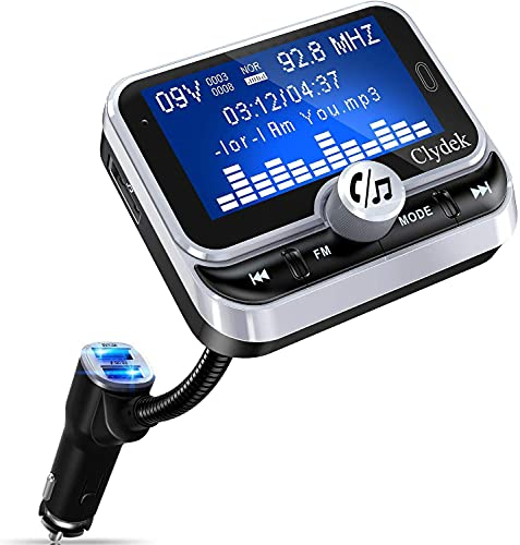 """Bluetooth FM Transmitter for Car, Clydek Car Charger Adapter 1.8"""" Large Display Bluetooth Car..."""