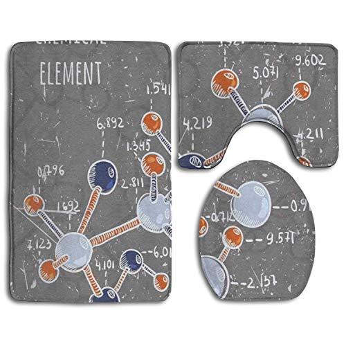 Beck Roy Set di tappeti da Bagno 3 Pezzi Elemento Chimico Formula Stile Grunge Tappetini da Bagno Tappetino per WC a Forma di U + Coperchio del Coperchio + Tappeti da Bagno