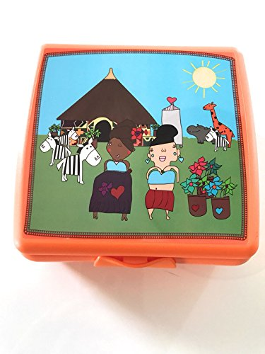 Tupper TUPPERWARE to Go Sandwich-Box Orange Afrika Tiere Zebra Schule Pausenbrotbehälter Dose