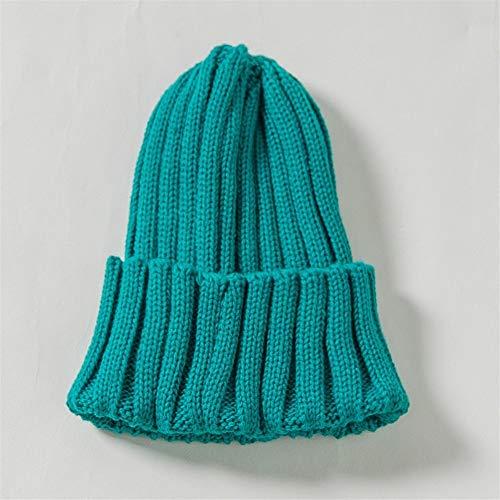 Magnifique Automne et Hiver New Crown Knit for Enfants Chapeau en Plein air Chaud Cache-Oreilles for Enfants Chapeau, Bonnet tricoté bébé pour Les Femmes (Color : Green, Size : 46-48cm)