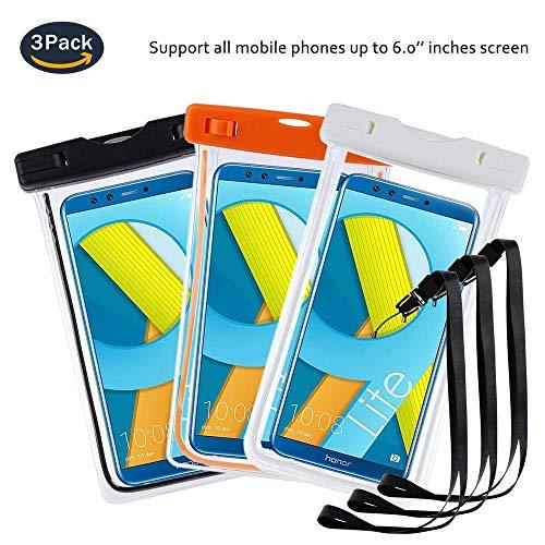 pinlu® 3 Pack IPX8 wasserdichte Tasche, für Smartphones bis 6 Zoll, für Lenovo Moto E3 Power, Lenovo C2 Power, Lenovo S5, Lenovo K80M, sandproof Protective Shell -Schwarz+Weiß+Orange