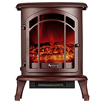 e-Flame USA Tahoe LED Portable Freestanding Electric Fireplace Stove - 3-D Log and Fire Effect  Red