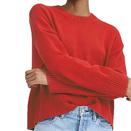 OtoO E Invierno Moda Casual para Mujer Cuello Redondo Color SLido Jersey Suelto De Manga Larga SuTer De Punto para Mujer