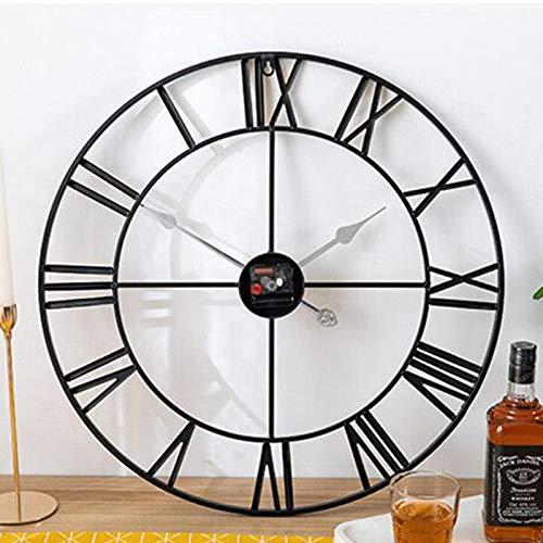 adgbd Reloj de pared grande vintage redondo de metal silencioso sin tictac, funciona con pilas, 60 cm/50 cm, números romanos negros para sala de estar, dormitorio, decoración de cocina