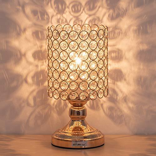 Kristall Nachttischlampe Modernes Nachtlicht K9 Kristallglas mit Metallrahmen Tischlampe für Schlafzimmer, Wohnzimmer, Esszimmer, Zylinder Golden