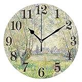 Reloj Colgante Redondo Claude Monet Oak Trees Meadow 9,84 Pulgadas Reloj de Pared Vintage para Sala de Estar Cocina Dormitorio Oficina