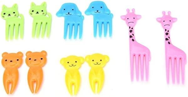 MYEDO Mini Cartoon Animal Fruit Fork Plastic Toothpick Decorative Cute Forks