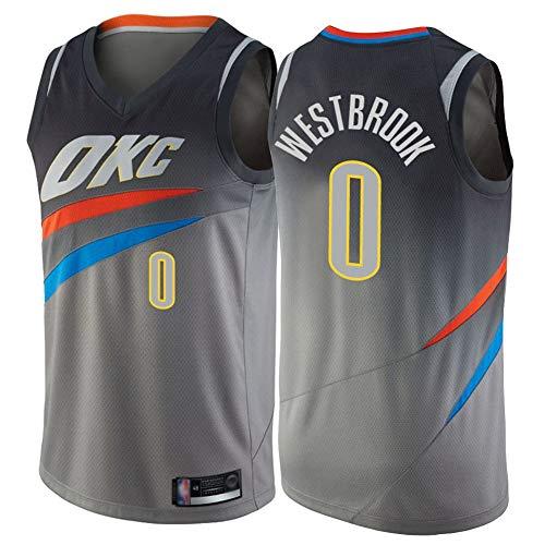 Russell Westbrook Camiseta de baloncesto para hombre, Oklahoma City Thunder # 0 Camiseta sin mangas bordado de malla Camiseta de baloncesto Camiseta absorbente de sudor transpirable Limpieza repetible