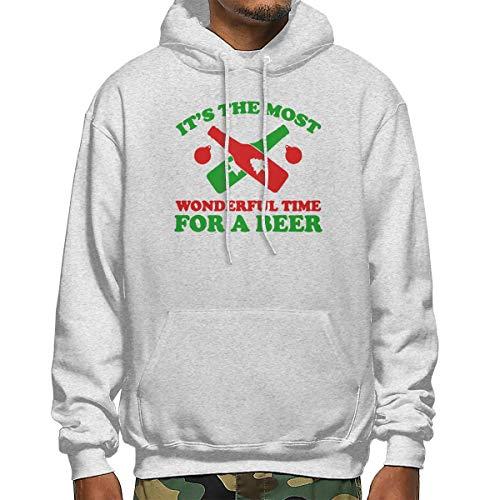 Heyuanqinkeji Mens Katoen Pullover Warm Hoodie Sweatshirt Zwart Print Het is de mooiste tijd voor bier Hooded Shirts met Pocket