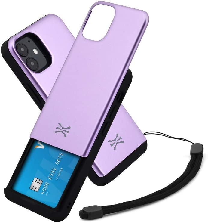 TORU CX Slide Compatible with iPhone 12 Mini Card Case - Protective TPU Bumper & Purple Hard Cover Dual Layer Slim Hidden Card Holder Slot Wallet with Wrist Strap - Lavender
