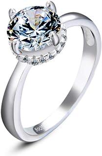 lem Abrillantador de anillosAnillo de Compromiso con Corona de 4 Puntas - Anillo de Promesa de Diamante simulado de Corte ...