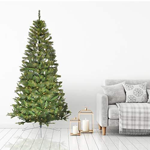 Fraser Hill Farm 6.5-Ft. Pre-Lit Half Wall Green Christmas Tree, Warm White LED Lights, FFHTD065-5GR