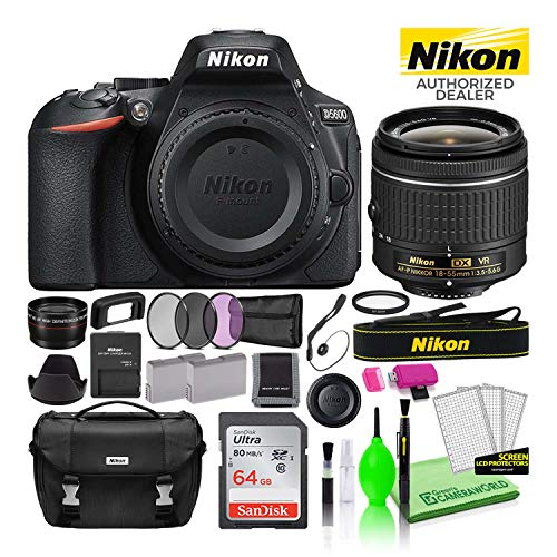 Nikon D5600 24.2MP DSLR Digital Camera with AF-P DX 18-55mm Lens (1576) USA Model Deluxe Bundle Includes Sandisk 64GB SD Card + Nikon Bag + Creative Filters + Spare Battery + Telephoto Lens + More