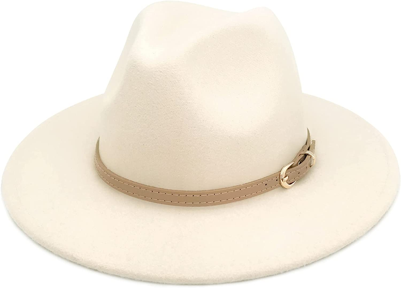 Lisianthus Women Classic Felt Fedora Wide Brim Hat with Belt Buckle