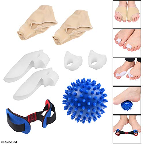 Bunion Protection and Recovery Kit - Gel Padded Bunion Protector Sleeve - Toe Separator with Bunion Guard - Standard Toe Spacer - Massage Ball - Exercise Strap - Relieves Pain and Discomfort