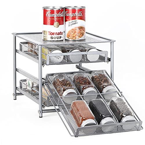 Organizador de especias para gabinete, 3 niveles de almacenamiento de cajones de especias de 18 botellas, estantes de condimentos para encimera de despensa de cocina, metal