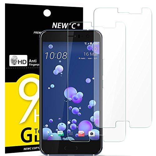 NEW'C PanzerglasFolie Schutzfolie für HTC U11, [2 Stück] Frei von Kratzern Fingabdrücken & Öl, 9H Festigkeit, HD Bildschirmschutzfolie, 0.33mm Ultra-klar, Bildschirmschutzfolie