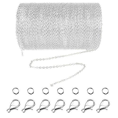 Jerbro 33 Füße Legierung DIY Link Kette Ketten Gliederkette Halsketten mit 20 Karabiner Verschlüsse und 30 Sprung Ringe für Schmuck Basteln Herstellung, 2mm