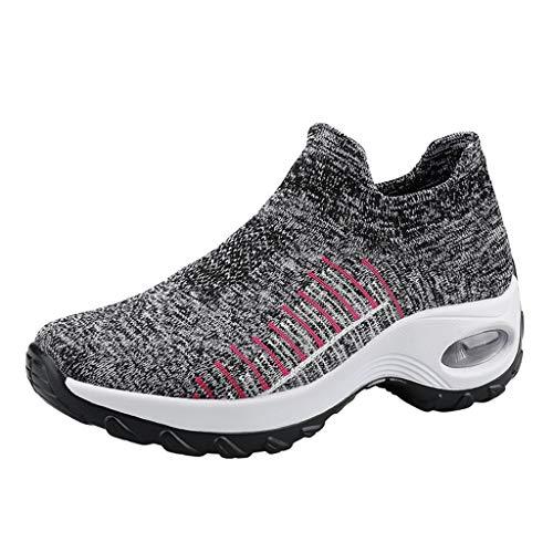 ZEELIY Damen Sommer Freizeitschuhe Moderne Frauen Laufen Fitness Gehen Draussen Leicht Sport Komfort Turnschuhe Atmungsaktiv Slip-On Socken Schuhe Air Cushion Sneakers