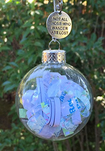 Rescued Vintage Travel Maps Road Trip or Traveling Adventurer Glass Globe Ornament Not all that Wander are Lost by Dorinta Gift Boxed