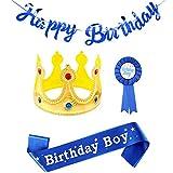 Corona de rey de cumpleaños, faja de niño de cumpleaños y pancarta de feliz cumpleaños azul, juego de accesorios de fiesta de cumpleaños de niño con insignia de cinta de premio azul