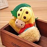Kinderhandschuhe,Gelbe niedlichen Marienkäfer Cartoon Handschuhe aus Gewirken,Verdicken warme Winter Fäustlinge,geeignet für Kinder von 1 bis 4 Jahren