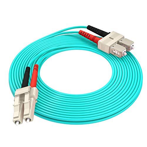 AIXONTEC LWL Patchkabel 20m LC-SC 10G Gigabit Glasfaser Fiber Patchkabel mit Multi OM3 Duplex 50/125- LSOH Kabel (Aqua)