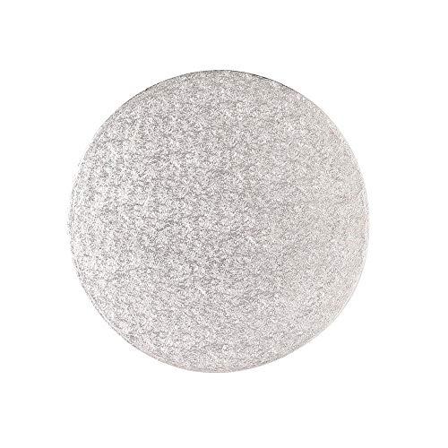 Disque rond pour gâteau argenté 25 cm