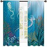 Cortina aislada para acuario, medusas artísticas nadando bajo el mar, arrecifes de coral, fauna oceánica, tela impermeable de 72 x 63 pulgadas, azul rosa naranja