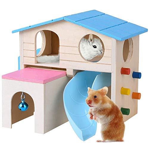 YSYDE houten huisdier hut kleine dier schuilplaats Deluxe Hamsters Villa Creatieve tweelaags hut voor kleine dieren uitgerust met glijbaan lade-stijl Hut opknoping Bell Ladder klimmen muur
