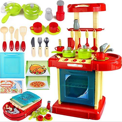 GOTOTOP Juego de Juguetes de Cocina Que imita el Sonido de Cocina de los niños y el Efecto de luz de la vajilla de plástico Rosa Rojo Juguete de rol para niños (25.8 x 15.9 x 11.2 Pulgadas)(Rojo)