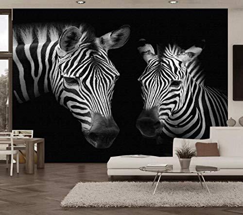 3D vliesbehang fotobehang premium fotobehang retro vintage zwart en wit zebra-wandschilderij achtergrond wanden 3D wallpaper wandafbeeldingen 200*140 200 x 140 cm.