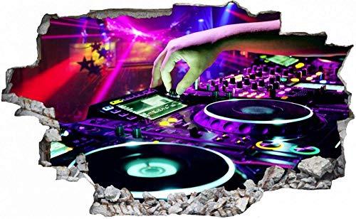 3D-Effekt Wandtattoo Aufkleber Durchbruch selbstklebendes Wandbild Wandsticker Stein Wanddurchbruch Wandaufkleber Tattoo,DJ Discjockey Mischpult,Größe:50x75cm