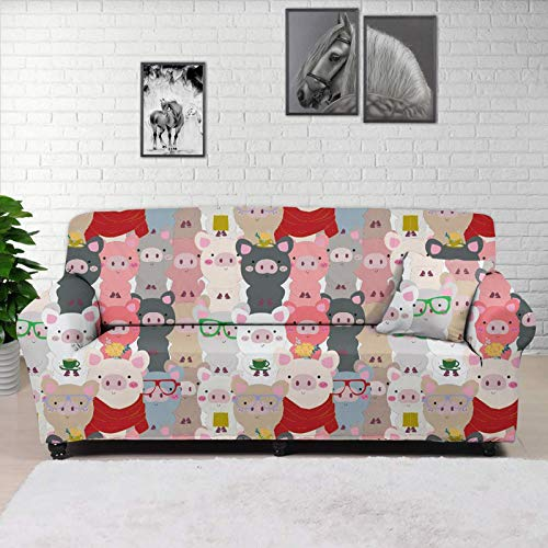 Woisttop Colorful Cute Piglets Sofa Cover 4 Seater Sofa Slipcovers Stretch Couch Cover Polyester Furniture Protector Cover with 1 Free Pillowcase