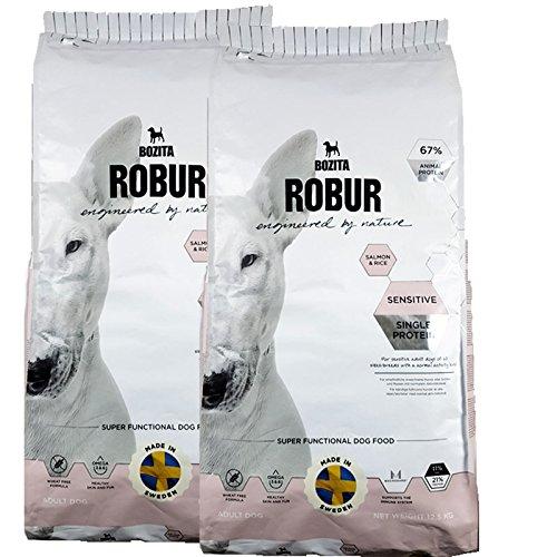 Bozita Robur Sensitive Lot de 2 boîtes de 12,5 kg de nourriture pour chien sans blé