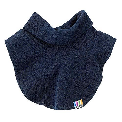 Joha Baby Kinder Unisex Schlupf-Schal Rollkragen-Einsatz reine Merino-Wolle, Farbe:blau, Größe:4-6