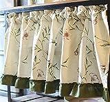 VIVILINEN Tende da Cucina Café di Lino Floreale Tende da Cucina Beige Verde Verde Breve Finestra Tenda Valance per Il Bagno Soggiorno (130 cm (L) x 60 cm (H), Vite da Giardino)