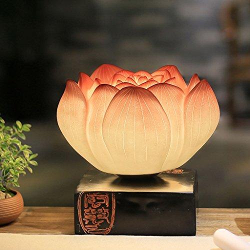 Lampe de table F Lampe de table - Lampe de table décorative chambre à coucher, bureau, salon, rétro classique Art lampe Lotus Lampe de table