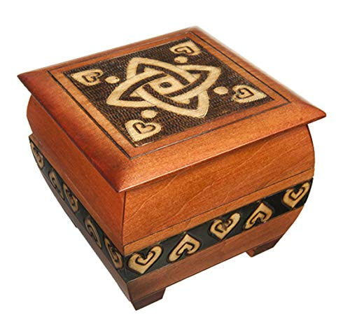 Celtic Knot and Hearts Handmade Wooden Box w/Lock and Key Desk Dresser Trinket Keepsake Holder Perfect Watch Storage Box
