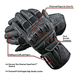 POLARIS Leather Touring Gloves for Men with Reinforced Heel, Black, Size Medium