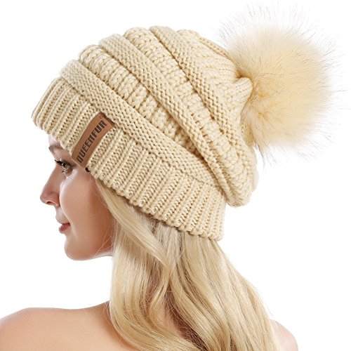 QUEENFUR Women Knit Slouchy Beanie Chunky Baggy Hat with Faux Fur Pompom Winter Soft Warm Ski Cap,