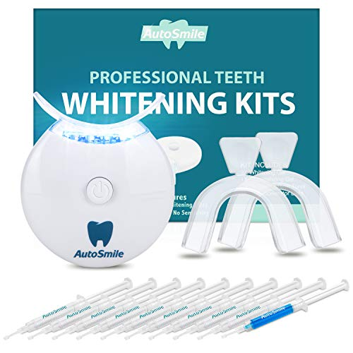 AutoSmile Teeth Whitening Kit - Zahnaufhellung Set,Home Teeth Whitening Kit,Zahnaufhellung für Weisse Zähne Bleaching Zähne Kit,10x Teeth Whitening Gel 2x Dental Trays Kit & Laserlicht