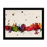 Nacnic Lámina Ciudad de Granada. Skyline Estilo Acuarela y explosión de Color. Poster tamaño A3 Impreso en Papel 250 Gramos y tintas de Alta Calidad. Decoración del hogar. Diseño al Mejor Precio.